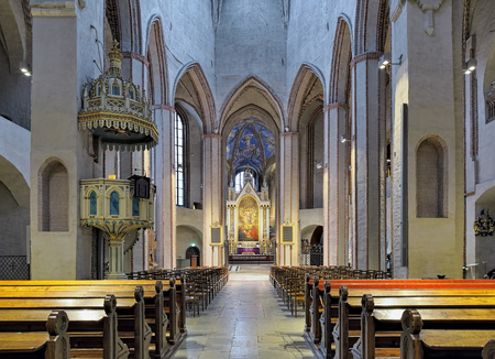 gothic revival: TURKU, FINLAND - MARCH 2, 2017: Interior of Turku Cathedral. The cathedral is the Mother Church of the Evangelical Lutheran Church of Finland. It was consecrated in 1300. Stock Photo