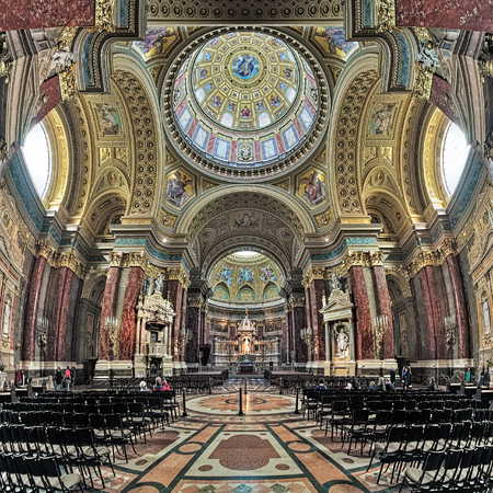 BUDAPEST, HUNGARY - OCTOBER 3, 2015: Interior of St. Stephens Basilica. It is named in honour of Stephen, the first King of Hungary (c 975-1038), whose supposed right hand is housed in the reliquary.