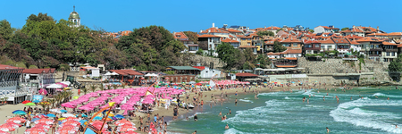 SOZOPOL, BULGARIA - SEPTEMBER 2, 2015: Panoramic view of Central city beach. Sozopol was founded in the 7th century BC by Greek colonists. Today it is one of the major seaside resorts in the country.