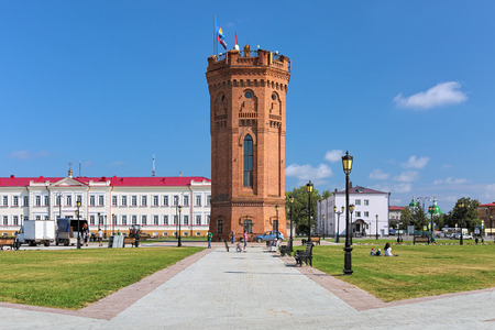TOBOLSK, RUSSIA - AUGUST 18, 2016: Historical water tower in the Upper Town near the Tobolsk Kremlin. The water tower in neo-gothic style was build in 1902.