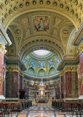 BUDAPEST, HUNGARY - DECEMBER 5, 2016: Interior of St. Stephens Basilica. It is named in honour of Stephen, the first King of Hungary (c 975-1038), whose supposed right hand is housed in the reliquary