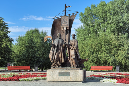 YEKATERINBURG, RUSSIA - AUGUST 20, 2016: Monument to St. Prince Peter and St. Fevronia of Murom, patrons of marriage and family. The monument by Konstantin Tchernyavskiy was unveiled on June 5, 2012.