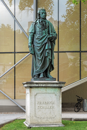 dramatist: Schiller monument in Furtwanglerpark in the old town of Salzburg, Austria. The monument was unveiled in 1867 to commemorate the 108th anniversary of the poet. Editorial