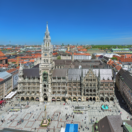 MUNICH, GERMANY - MAY 17, 2017: High angle view of New Town Hall on Marienplatz square from the lookout deck on the tower of St. Peters Church. The New Town Hall was built in 1867-1908. Editorial