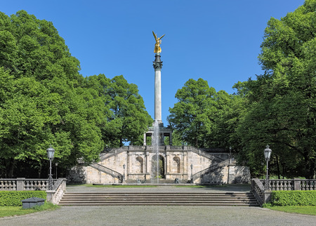commemorate: Angel of Peace monument in Munich, Germany. The foundation stone was laid in 1896 to commemorate the 25 peaceful years after the Franco-German war of 1870-1871. The monument was unveiled in 1899.