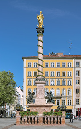 MUNICH, GERMANY - MAY 17, 2017: Marian column (Mariensaule) on the Marienplatz square. It was erected in 1638 to celebrate the end of Swedish occupation during the Thirty Years War.