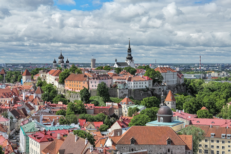 tallin: View of Toompea (Cathedral Hill) in the Old Town of Tallinn from the tower of St. Olafs church, Estonia