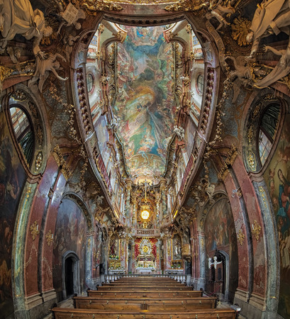 MUNICH, GERMANY - MAY 28, 2017: Vertical panorama of interior of Asamkirche. The church was built in 1733-1746 and is considered to be one of the main representatives of southern German Late Baroque. Editorial