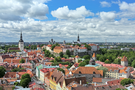 View of the Old Town of Tallinn from the tower of St. Olafs church, Estonia
