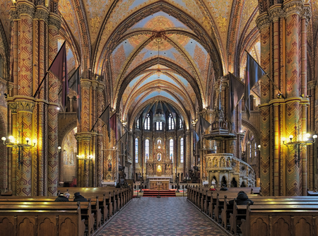 BUDAPEST, HUNGARY - DECEMBER 5, 2016: Interior of Matthias Church in Budas Castle District. The church was the venue of several coronations, including that of Charles IV in 1916, last Habsburg king.