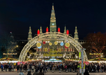 VIENNA, AUSTRIA - DECEMBER 9, 2016: Viennese Christmas Market in front of the City Hall. This is the largest and the best-known of all the Vienna Christmas markets. Editorial