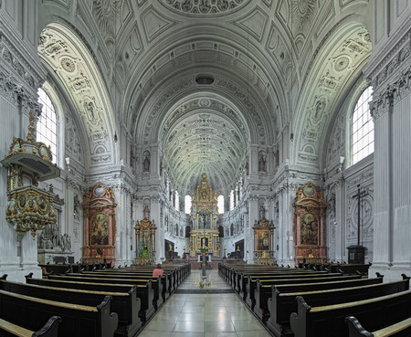 MUNICH, GERMANY - MAY 28, 2017: Interior of St. Michaels Church. The church was built by William V, Duke of Bavaria in 1583-1597. This is the largest Renaissance church north of the Alps.