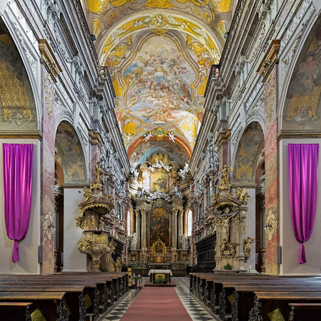 BRNO, CZECH REPUBLIC - DECEMBER 12, 2016: Interior of the Assumption of Virgin Mary Church, also known as Jesuit Church. The church was built in 1598-1602 and reconstructed in 1945-1952 after WWII. Editorial
