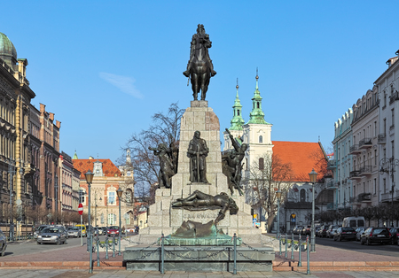 KRAKOW, POLAND - DECEMBER 16, 2016: Battle of Grunwald Monument. The monument by Antoni Wiwulski was unveiled on July 15, 1910 on Jan Matejko Square to commemorate the 500th anniversary of the Battle. Editorial