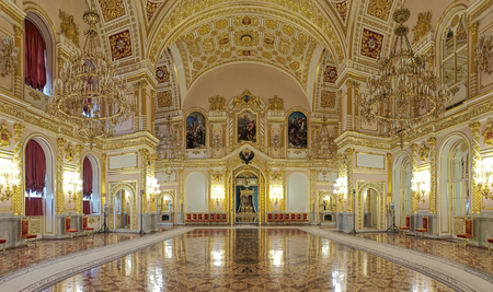 MOSCOW, RUSSIA - SEPTEMBER 15, 2017: The Hall of Order of St. Alexander Nevsky in Grand Kremlin Palace. Panoramic view of interior. The wall paintings depict the scenes from life of Alexander Nevsky.