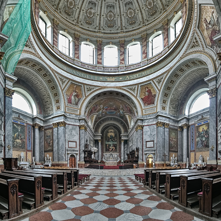 ESZTERGOM, HUNGARY - OCTOBER 7, 2015: Interior of the Esztergom Basilica. The Esztergom Basilica is the mother church of the Archdiocese of Esztergom-Budapest and is the biggest building in country.