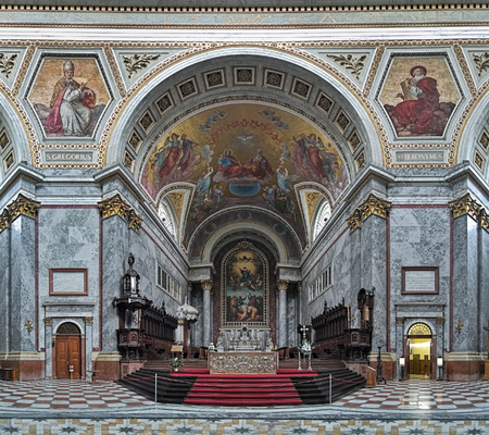 ESZTERGOM, HUNGARY - OCTOBER 7, 2015: Sanctuary and altar of Esztergom Basilica. Esztergom Basilica is the mother church of the Archdiocese of Esztergom-Budapest and is the biggest building in country.