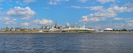 Panorama of the Kazan Kremlin, Russia. The panorama shows in Kremlin: Presidential Palace, Soyembika Tower, Annunciation Cathedral, Qolsharif Mosque, outside Kremlin: Palace of Farmers and Circus. Фото со стока