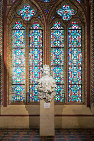 BUDAPEST, HUNGARY - DECEMBER 5, 2016: Sculpture of Empress Elisabeth of Austria and Queen of Hungary. The sculpture was created in early 20th century by unknown artist and located in Matthias Church. Editorial