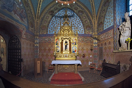 BUDAPEST, HUNGARY - DECEMBER 5, 2016: The Loreto Chapel in Matthias Church. The first written evidence of the existence of this chapel is dated 1686.
