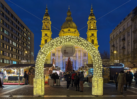BUDAPEST, HUNGARY - DECEMBER 5, 2016: Christmas Market and Advent Feast at St. Stephens Square in front of the St. Stephens Basilica. The first Advent Fair by the Basilica was held in 2011.