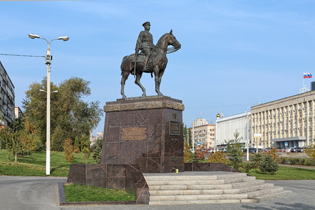 VOLGOGRAD, RUSSIA - OCTOBER 19, 2017: Monument to Konstantin Rokossovsky, the Marshal of the Soviet Union and one of the most prominent Red Army commanders of WWII. The monument was unveiled on May 2, 2015. Editorial