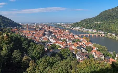 View of Heidelberg Old Town with Jesuit Church, Church of the Holy Spirit and Old Bridge (Karl Theodor Bridge) across Neckar river in autumn sunny day, Germany