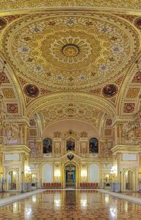 MOSCOW, RUSSIA - SEPTEMBER 15, 2017: The Hall of Order of St. Alexander Nevsky in Grand Kremlin Palace. The wall paintings depict the scenes from life of Alexander Nevsky. Editorial