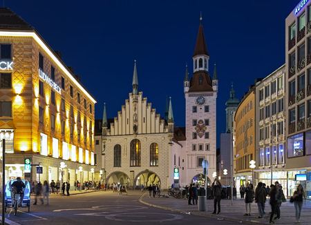 MUNICH, GERMANY - MAY 17, 2017: Old Town Hall (Altes Rathaus) in dusk. The building was documented for the first time in 1310. It was re-designed in late-gothic style by Jorg von Halsbach in 1470-1480.