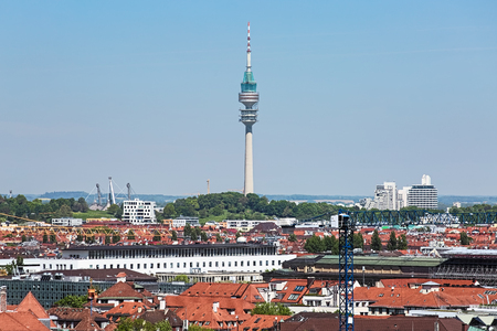 Olympiaturm TV tower (Olympic Tower) in the Olympic Park of Munich, Germany. View from the tower of New Town Hall.