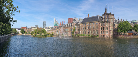 Panoramic view of Hofvijver Pond (Court Pond) with Binnenhof complex in The Hague, Netherlands