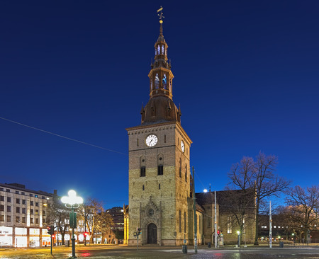 Oslo Cathedral in night, Norway. It is the main church for the Church of Norway Diocese of Oslo, as well as the parish church for downtown Oslo. The present building dates from 1694-1697.