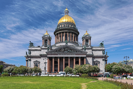 SAINT PETERSBURG, RUSSIA - JUNE 2, 2018: Saint Isaac's Cathedral. The cathedral was built in 1818-1858 by design and under the direction of the French Classicism architect Auguste de Montferrand.