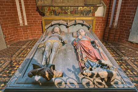 BAD DOBERAN, GERMANY - OCTOBER 22, 2016: Tomb of Duke Albert III of Mecklenburg, King of Sweden, and cenotaph of his first wife Queen Richardis in Doberan Minster. Grave monument of the 15th century.