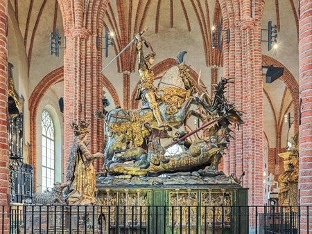 STOCKHOLM, SWEDEN - APRIL 3, 2016: Saint George and the Dragon, an extremely well-preserved wooden sculptural ensemble in Storkyrkan (Great Church). It was created by Bernt Notke from Lubeck in 1489.