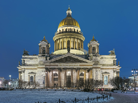 Saint Isaac's Cathedral in Saint Petersburg in winter morning, Russia. The cathedral was built in 1818-1858. Text on the frieze reads: My house shall be called a house of prayer.
