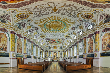 MUNICH, GERMANY - MAY 29, 2017: Panorama of interior of Burgersaal Church. Burgersaal was built in 1709-1710 by Giovanni Antonio Viscardi as prayer and assembly hall. Since 1778 it is used as a church