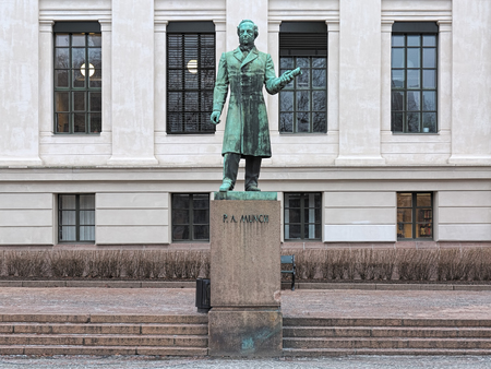 Statue of the Norwegian historian Peter Andreas Munch on the University Square in Oslo, Norway. The statue by sculptor Stinius Fredriksen was erected in 1933. Stok Fotoğraf