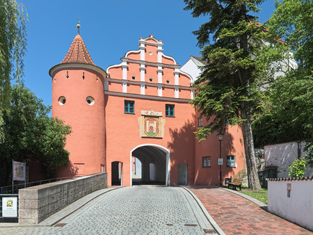 Oberes Tor (Upper Gate), also known as Rotes Tor (Red Gate) in Neuburg an der Donau, Germany. The Gate was built in 1530.