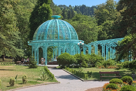 BORJOMI, GEORGIA - AUGUST 14, 2014: Pavilion above the Yekaterininskiy Spring of mineral water in Central Park. The spring was named in 1841 by Yevgeni Golovin, viceroy of Russian Tsar in Caucasus. Editorial