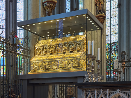 COLOGNE, GERMANY - DECEMBER 10, 2018: Shrine of the Three Kings (Tomb of the Three Magi) in Cologne Cathedral. The shrine were designed by Nicholas of Verdun, who began work on it in 1180 or 1181.