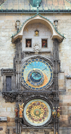 Prague Orloj, a medieval astronomical clock mounted on the southern wall of Old Town Hall at Old Town Square of Prague, Czech Republic. The first recorded mention of the clock was on October 9, 1410.