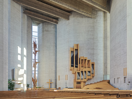 TAMPERE, FINLAND - MARCH 5, 2019: Interior of Kaleva Church. The church was designed by the Finnish architects Reima and Raili Pietila in the modernist architecture style, and built in 1964-1966.