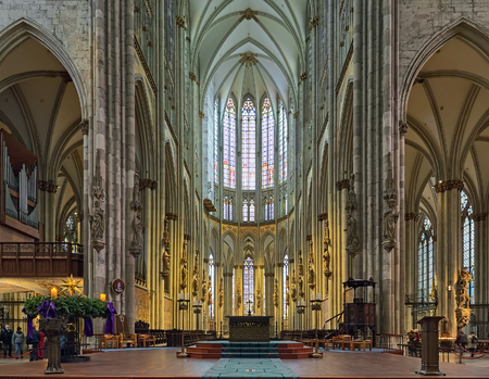 COLOGNE, GERMANY - DECEMBER 10, 2018: Chancel and main altar of Cologne Cathedral. The cathedral is Germanys most visited landmark, attracting an average of 20,000 people a day, or 7-8 million a year Editöryel