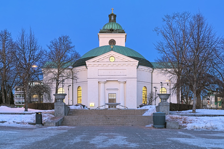 The main church of Hameenlinna at winter sunset, Finland. The church was built in 1792-1798 in the Gustavian style by design of Louis Jean Desprez.