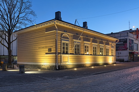 HAMEENLINNA, FINLAND - MARCH 5, 2019: Sibelius Childhood Home at sunset. Composer Jean Sibelius was born in the house in 1865 and lived there in his childhood. Since 1965, the house serves as a museum