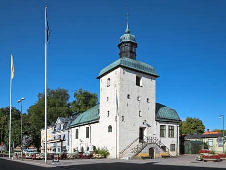 VADSTENA, SWEDEN - AUGUST 26, 2013: Vadstena Town Hall, the oldest preserved town hall in Sweden. It was built during the 15th and 16th centuries.
