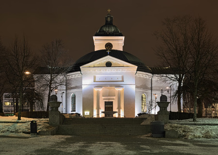The main church of Hameenlinna in winter night, Finland. The church was built in 1792-1798 in the Gustavian style by design of Louis Jean Desprez.