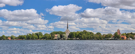 Vadstena, Sweden. Panoramic view of Abbey of Our Lady and of St. Bridget, more commonly referred to as Vadstena Abbey, from Lake Vattern. The abbey was founded in 1346 by Saint Bridget.