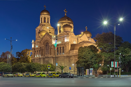 VARNA, BULGARIA - OCTOBER 3, 2017: Cathedral of the Dormition of Mother of God in dusk. The cathedral was started in 1880 according to design of Vasily Maas, and finished in 1886 by plans of P. Kupka.